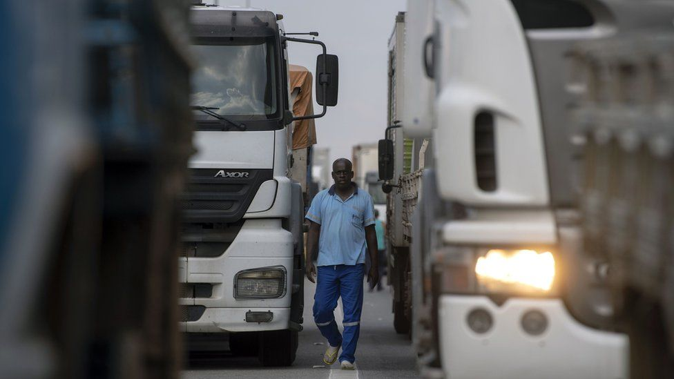 Truck drivers block a road in Rio de Janeiro