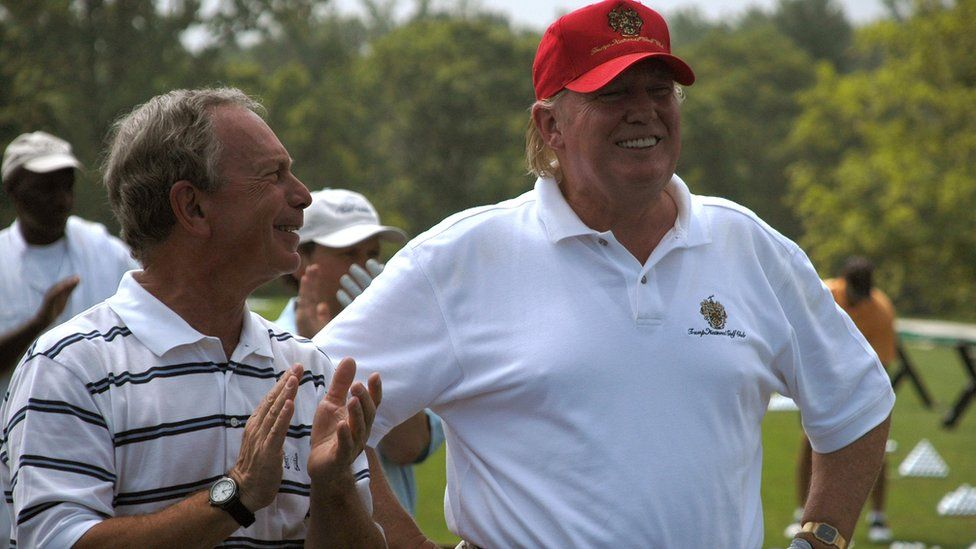 Michael Bloomberg and Donald Trump at a 2007 golf tournament in New York