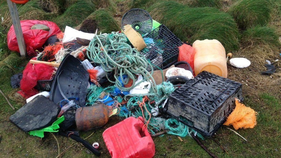 Waste cleared by Vicky Pearson at Druidstone Beach