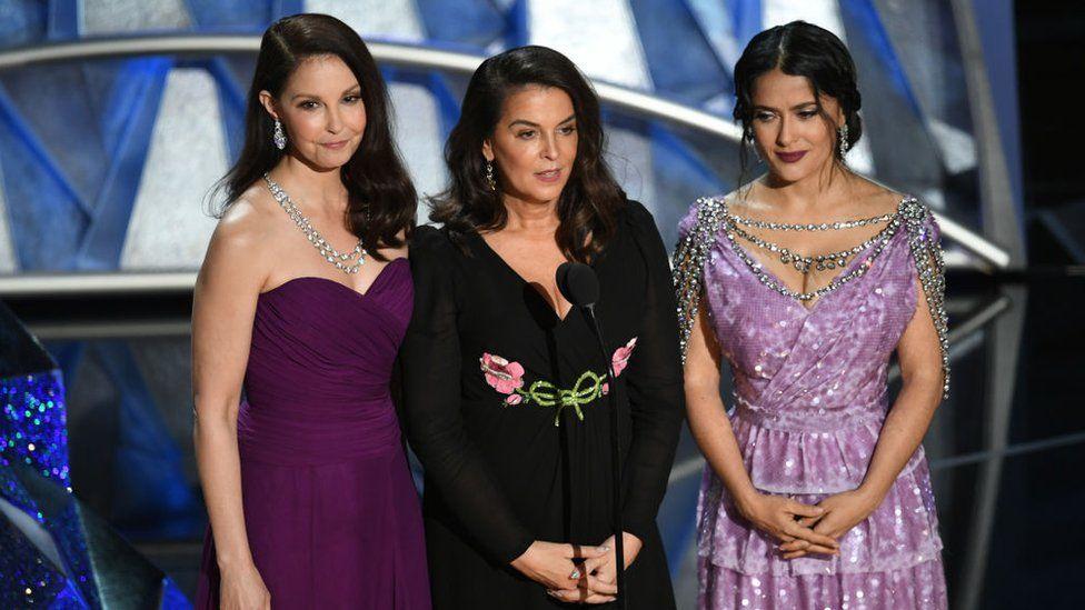 Actors Ashley Judd, Annabella Sciorra and Salma Hayek