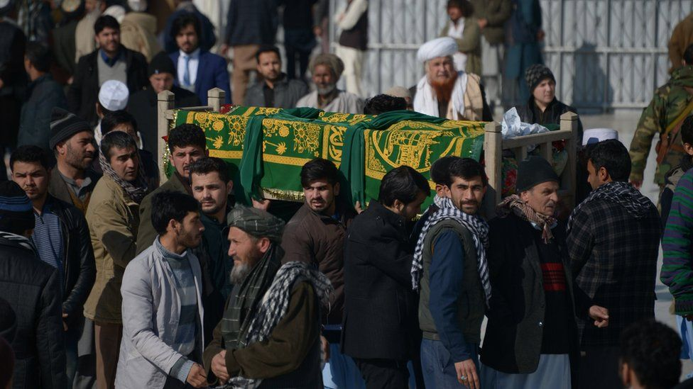 Afghan mourners carry the coffin of one of the six Afghan employees of the Red Cross in Mazar-i-Sharif on February 9, 2017