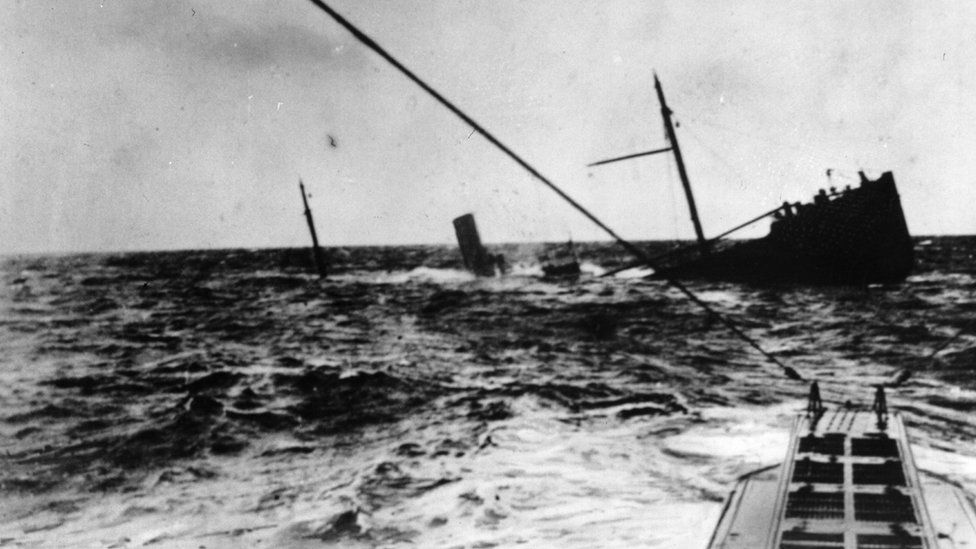 A U-boat surfaces after sinking a British steamer in 1916