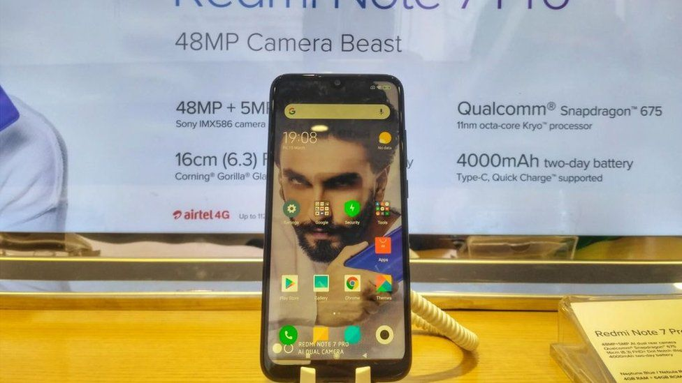 Newly launched Redmi Note 7 Pro is seen at a Showroom in New Delhi, India, on March 15, 2019.