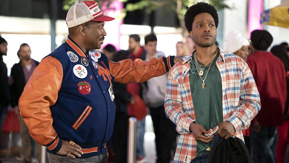 The moment Akeem sets eyes on his son Lavelle (played by Jermaine Fowler)
