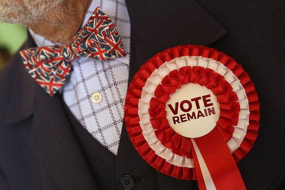 A man wearing a Union Jack bowtie and a Vote Remain rosette