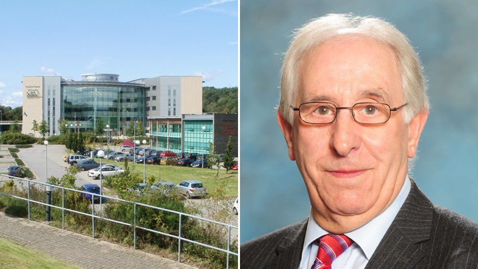 Caerphilly council headquarters and Councilor Keith Reynolds