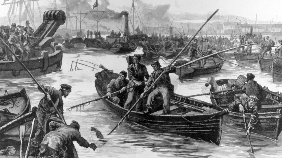 Boatmen fishing for the dead