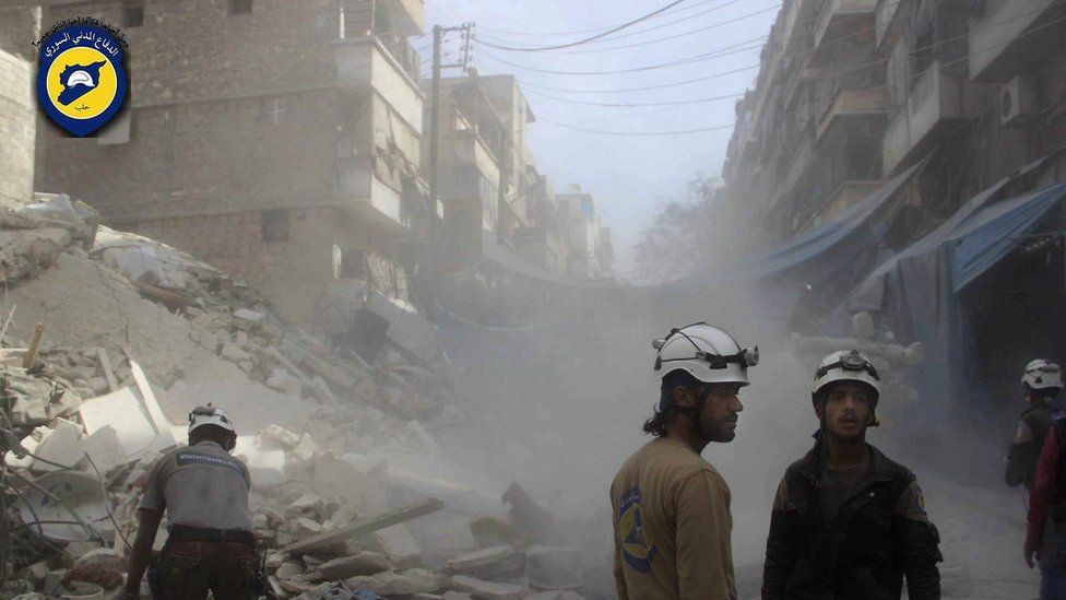Aleppo, picture provided by the Syrian Civil Defense group known as the White Helmets