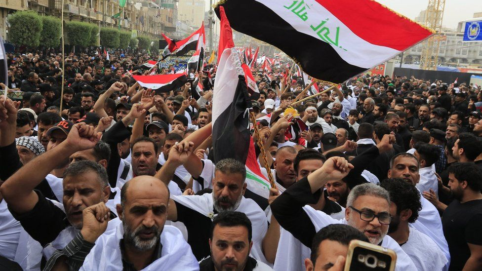 Protesters demonstrate against alleged Iraqi government corruption and poor government services in the holy city of Karbala on 19 October, 2019