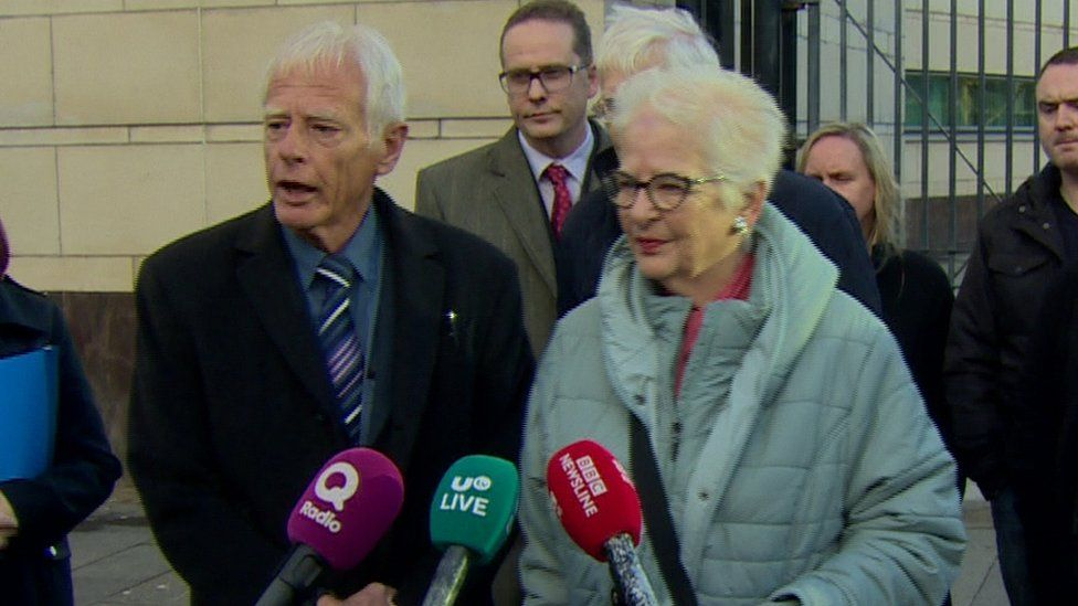 Robert Flowerday's brother Alan and sister Pat outside Belfast Crown Court