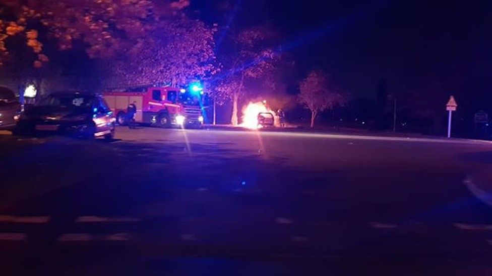 Car on fire in New Ferry