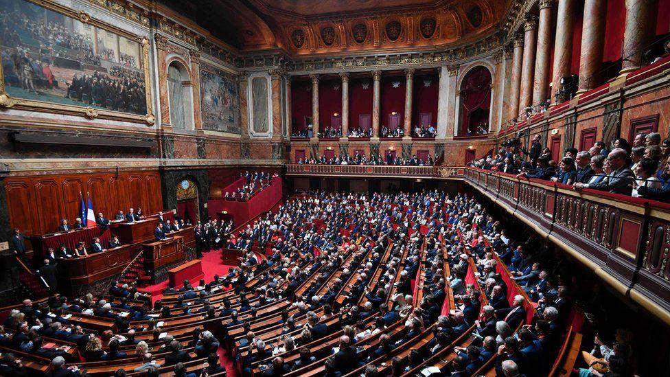 Macron speaking in Versailles