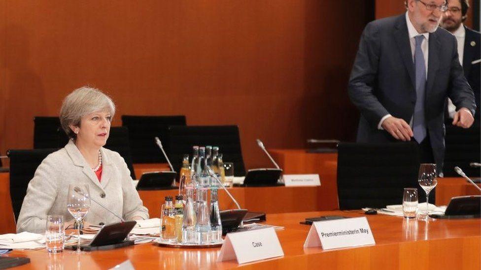 Theresa May and Spain's PM Mariano Rajoy at a G20 summit