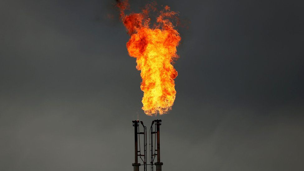 Natural gas is flared off at a plant in Texas