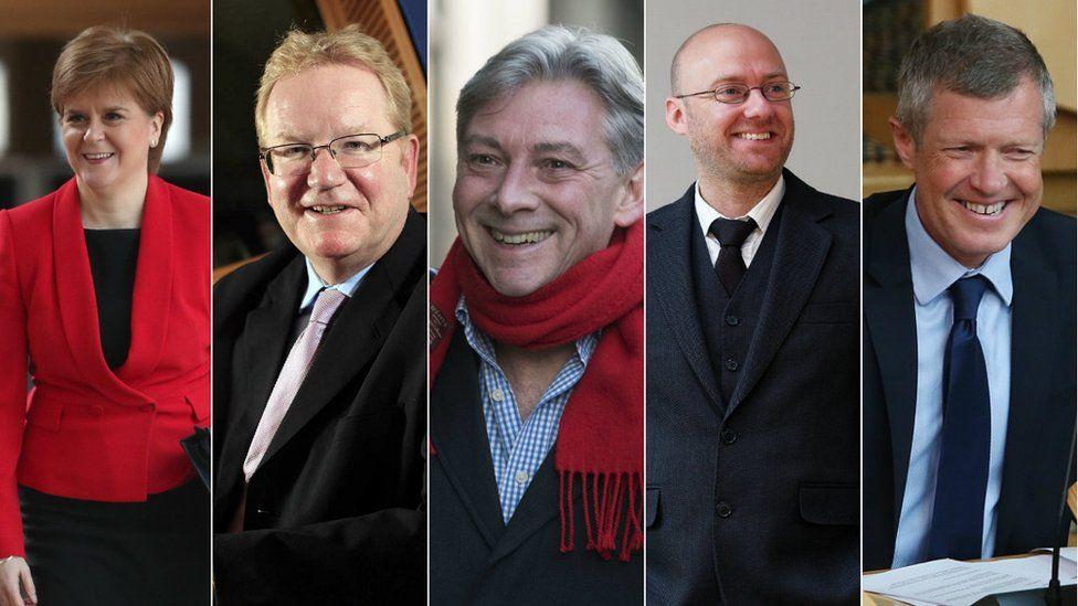 Nicola Sturgeon, Jackson Carlaw, Richard Leonard, Patrick Harvie, Willie Rennie
