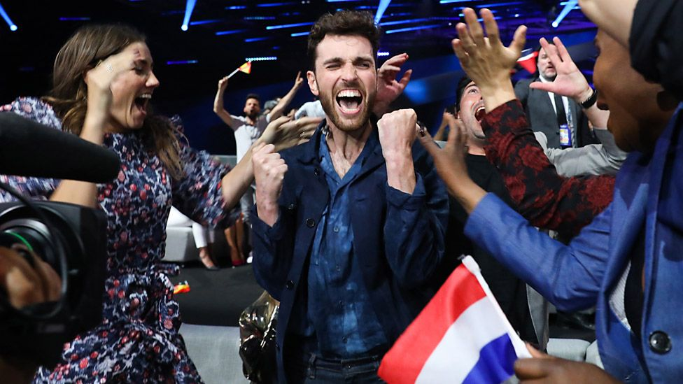 Duncan Laurence of The Netherlands during the 64th annual Eurovision Song Contest held at Tel Aviv Fairgrounds on May 18, 2019