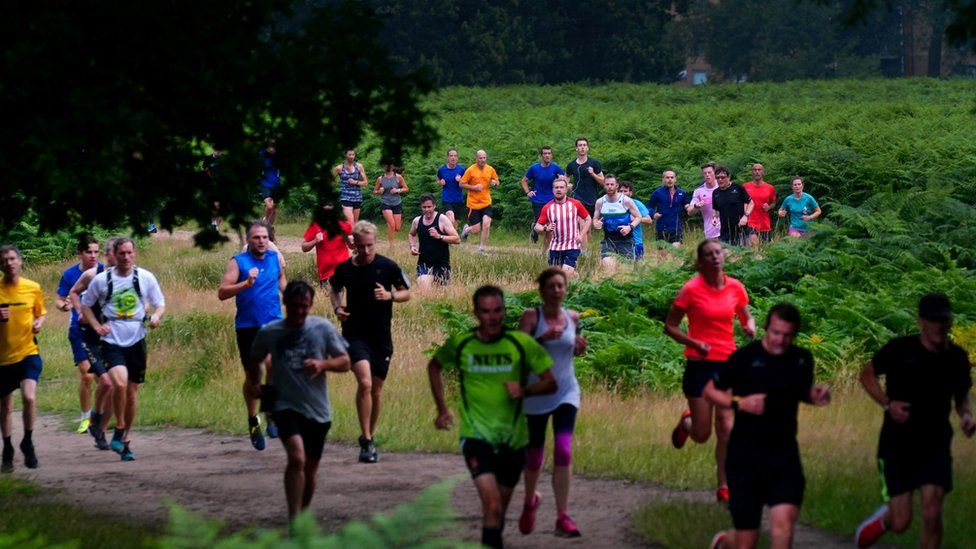 Runners take on the course at Bushy Park in south-west London - where Parkrun began in 2004