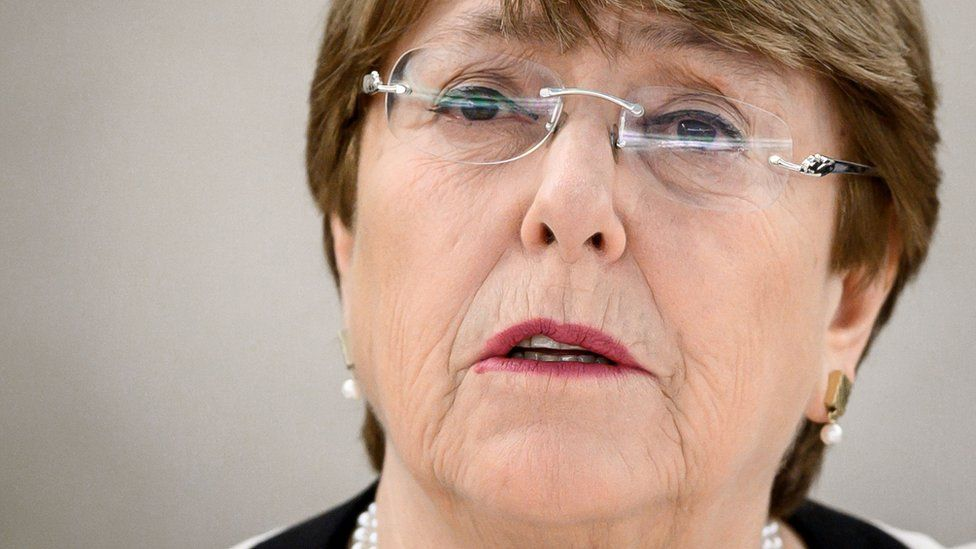 United Nations High Commissioner for Human Rights Michelle Bachelet delivers her annual report before the UN Human right council members on March 6, 2019 in Geneva.