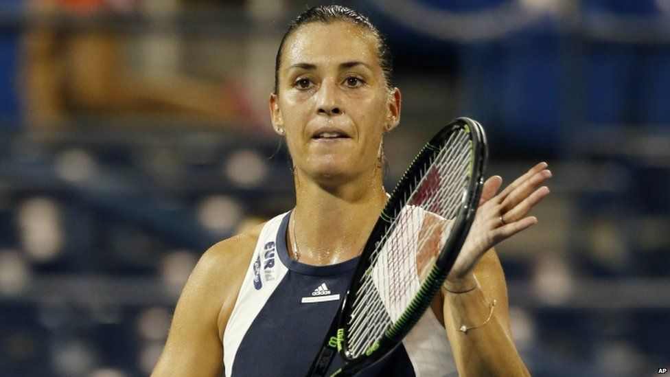 Flavia Pennetta, of Italy, during her second round match at the U.S. Open Tennis tournament in New York, on 3 September 2015