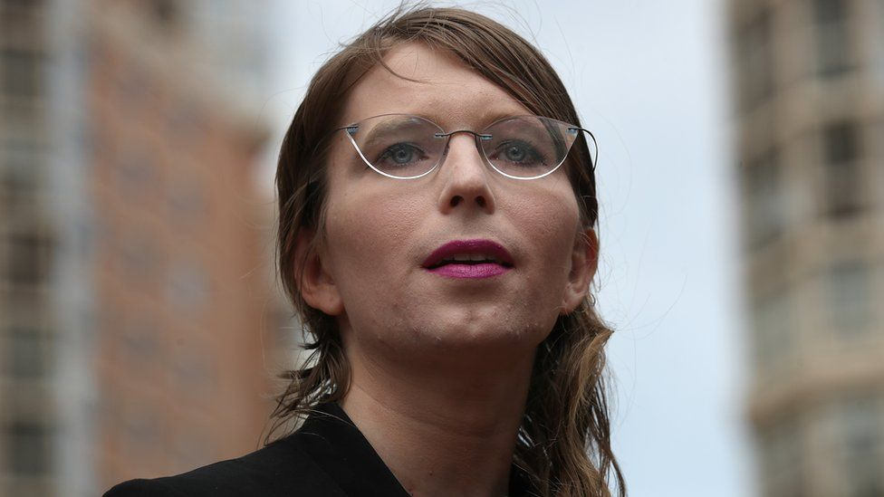 Chelsea Manning outside of court