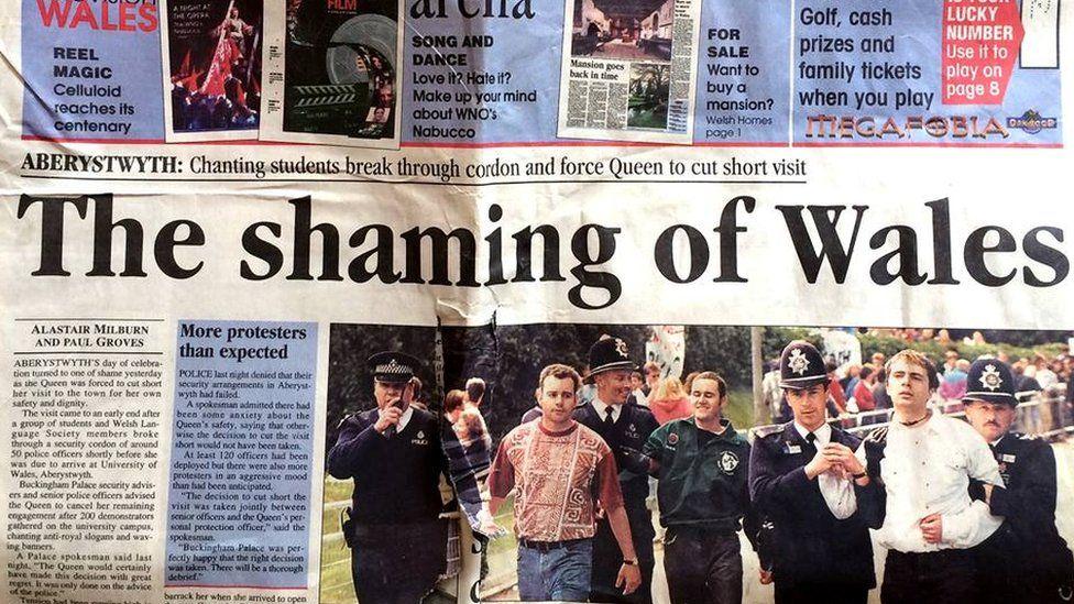 Tudalen flaen y Western Mail ddiwrnod ar ôl y brotest yn Aberystwyth ar 31 Mai 1996