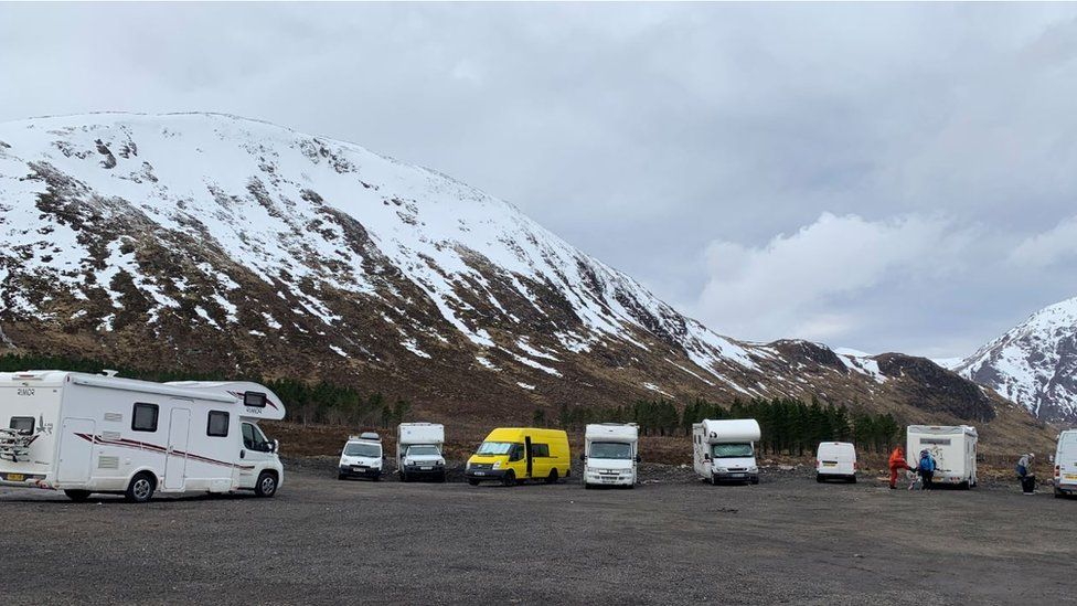 Camper vans in the Highlands