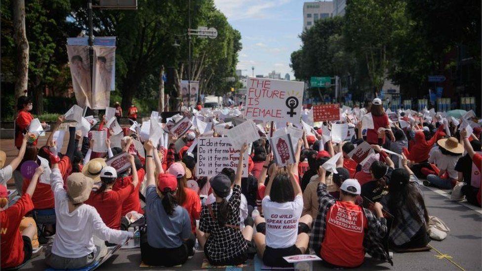 Women protesting hidden camera pornography in South Korea, July 2018