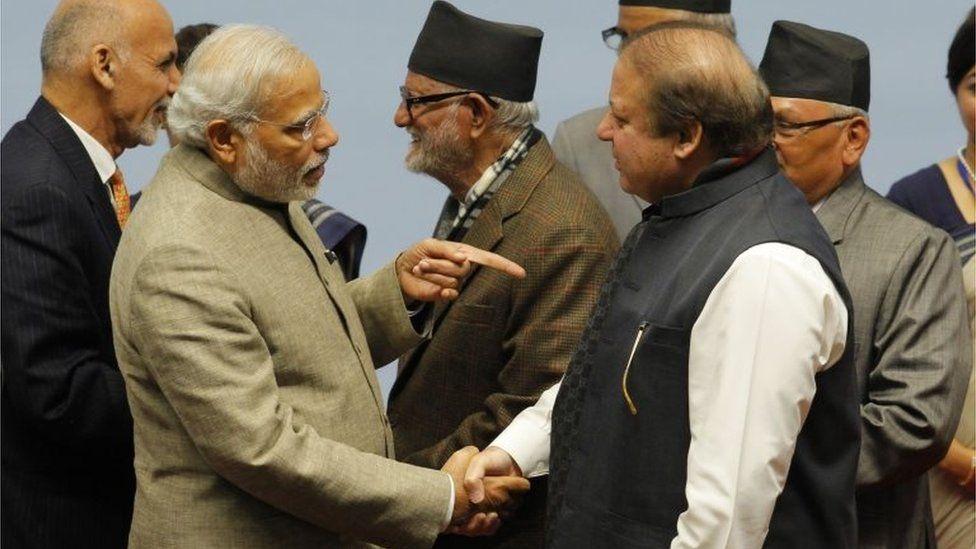 "This file photo taken on November 27, 2014 shows Indian Prime Minister Narendra Modi (2L) point a finger at Pakistan""s Prime Minister Nawaz Sharif (2R) in the Nepalese capital Kathmandu. India on September 27, 2016"