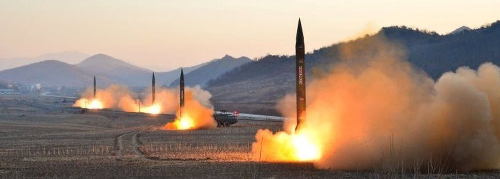North Korean media handout of missile launch (7 March 2017