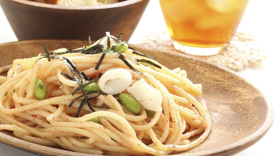 Edamame and squid pasta