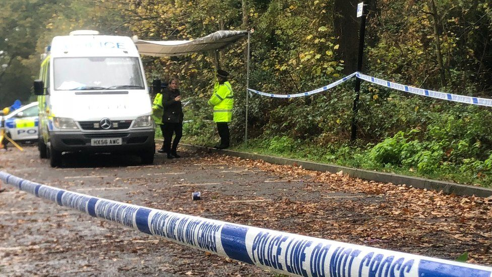 The cordoned off area where the body was found
