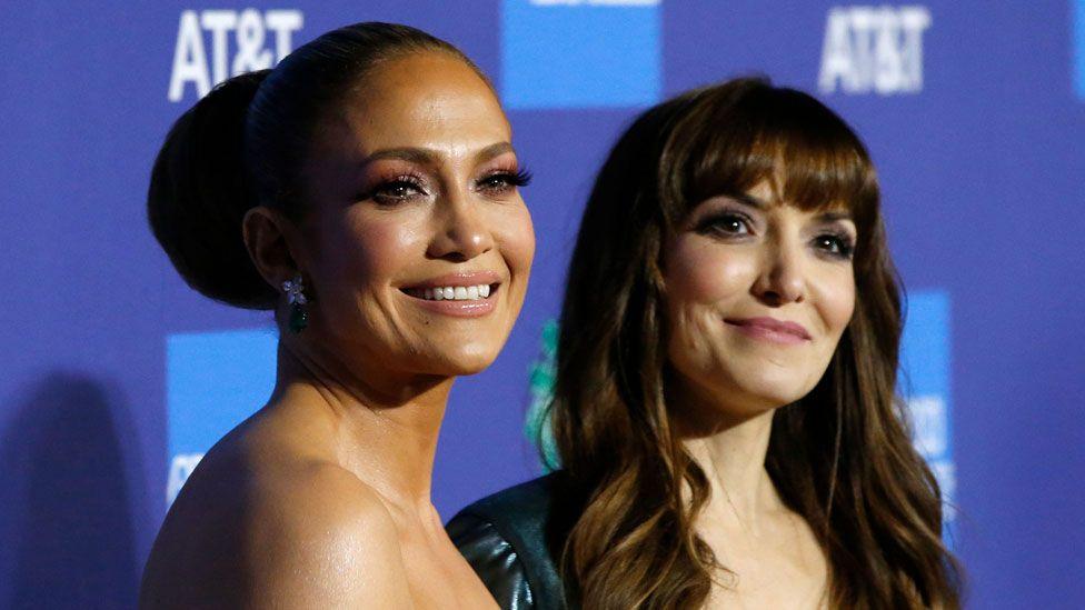 Jennifer Lopez with Hustlers director Lorene Scafaria