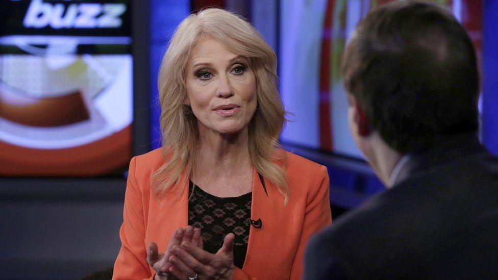 Kellyanne Conway giving a television interview