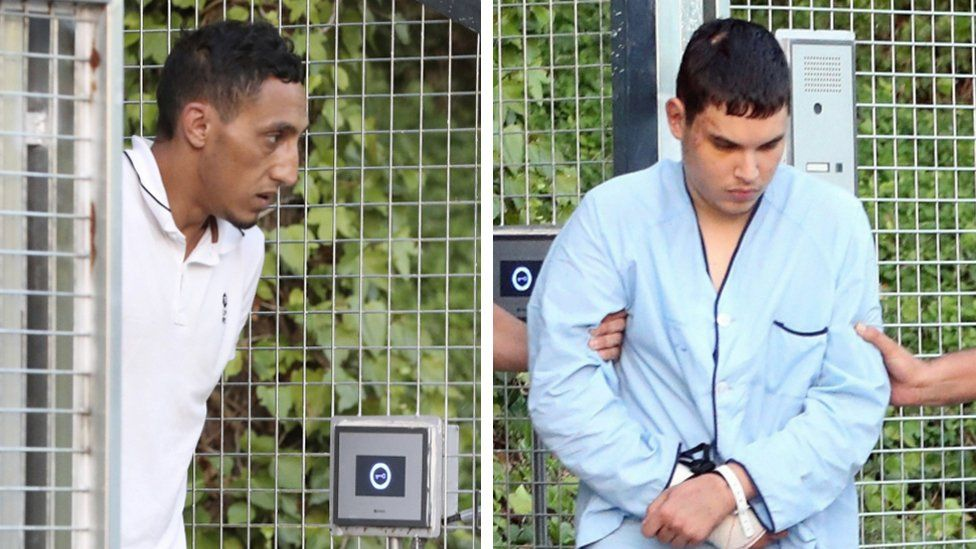 Driss Oukabir (left) and Mohamed Houli Chemlal (right), pictured separately being taken into the Audiencia Nacional Court in Madrid on 22 August 2017