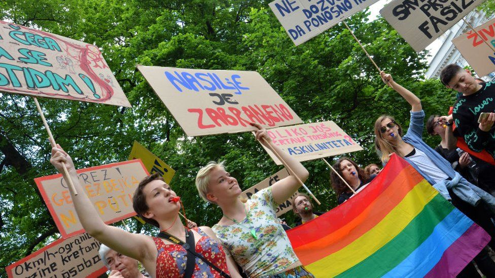 Activists protest in 2017 after authorities rejected their application for pride march