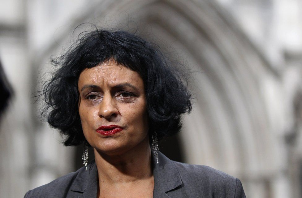 Saimo Chahal outside the Royal Courts of Justice