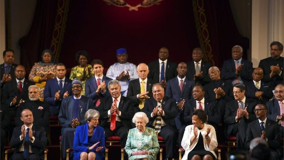 The Queen is applauded at the Commonwealth Heads of Government Meeting
