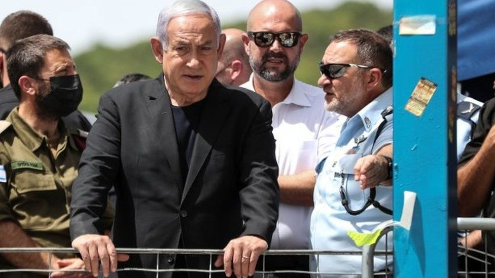 """Benjamin Netanyahu visits the scene in Mount Meron. He called the deaths a """"heavy disaster"""""""