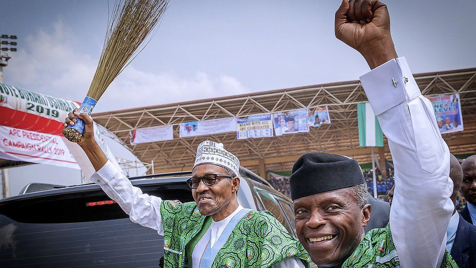 President Muhammadu Buhari (L) and his running mate Yemi Osinbajo (R) attend a campaign rally in Akure, Ondo State, Nigeria - 5 February 2019