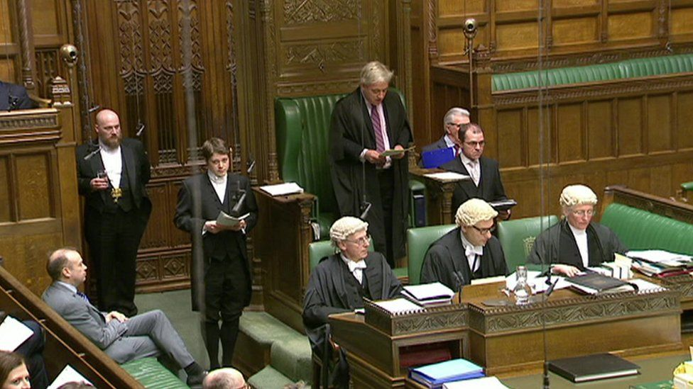 House of Commons speaker John Bercow surrounded by clerks wearing their wigs