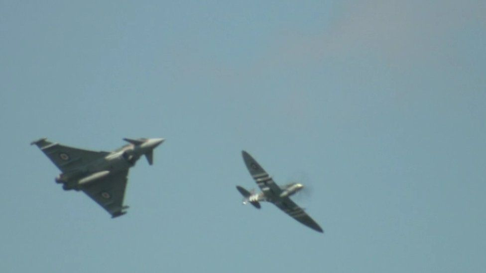 The Spitfire and the modern Typhoon flying side by side