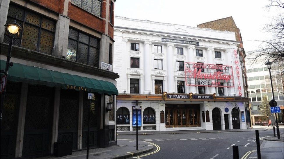 Theatres in the West End are deserted after they were ordered to close