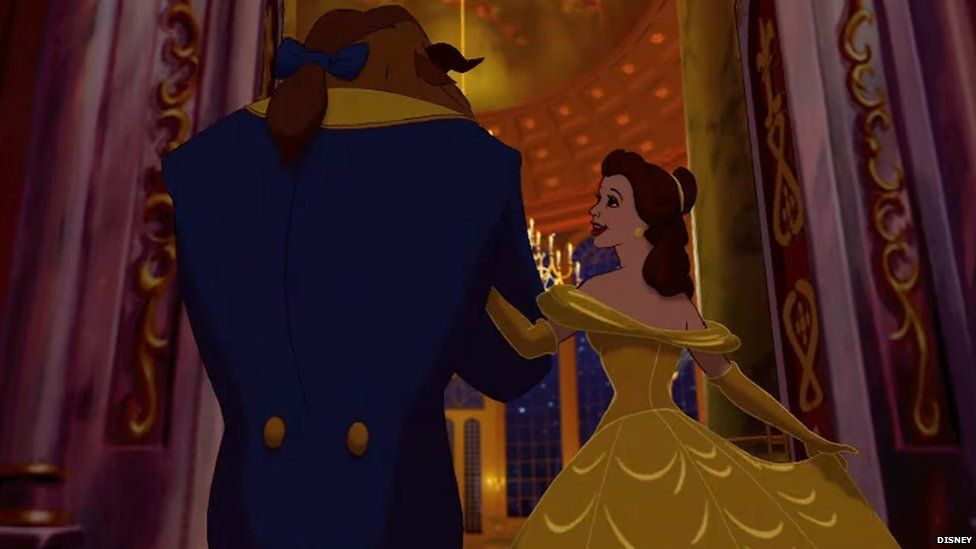 A still from the Disney animation of Beauty and the Beast