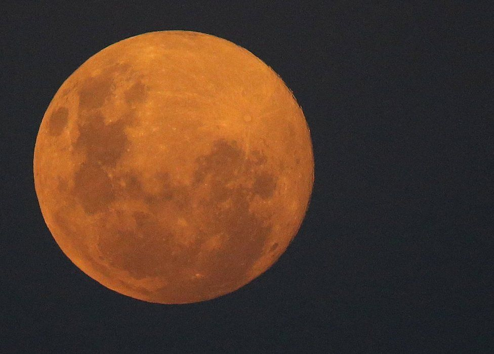 The pink supermoon seen from Johannesburg, South Africa