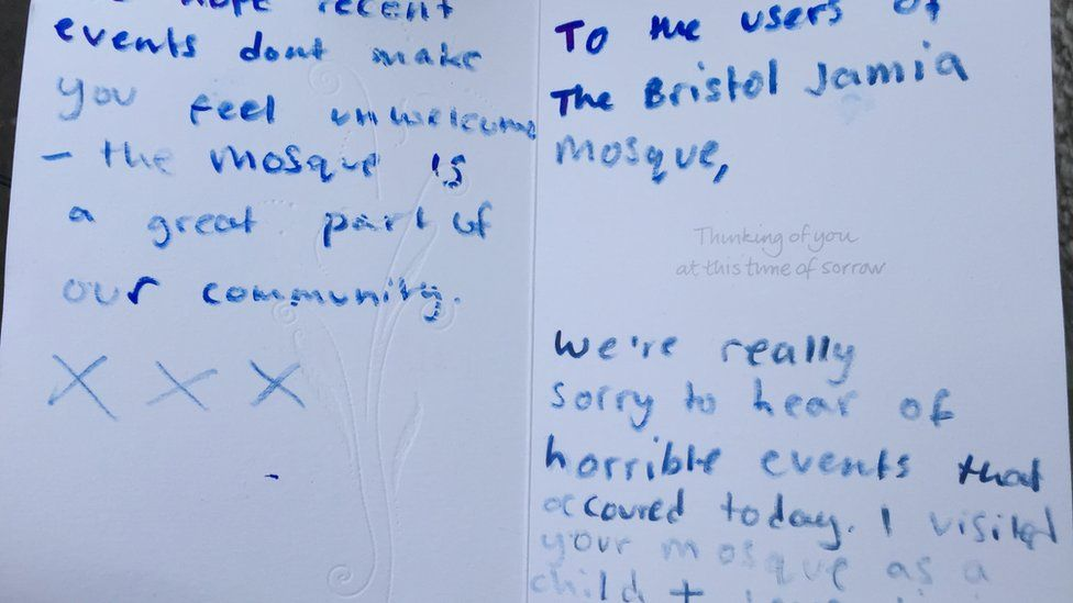 Sympathy card left on the mosque steps