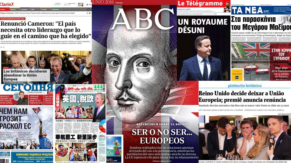 Combo picture of newspaper front pages from around the world reacting to Brexit results