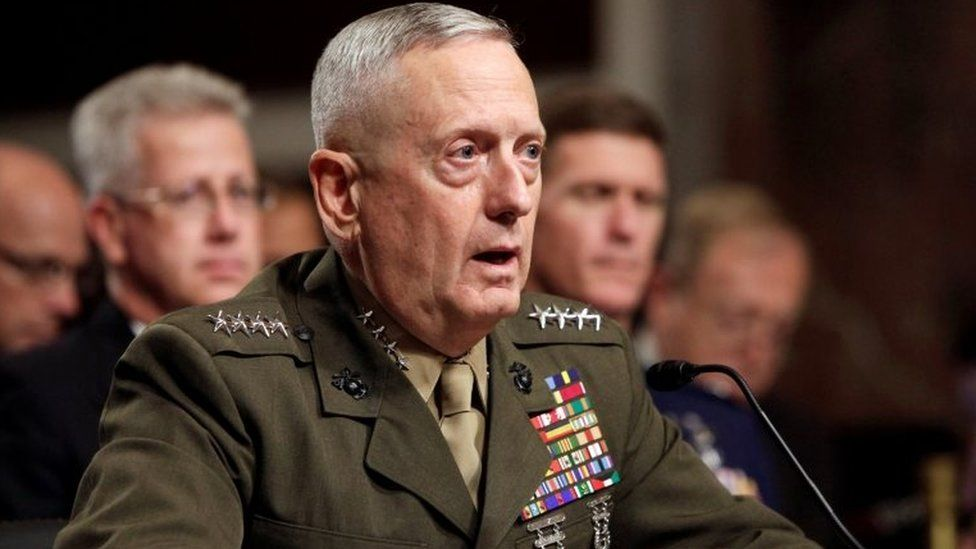 General James Mattis testifies before the Senate Armed Services Committee hearing on Capitol Hill in Washington, DC.
