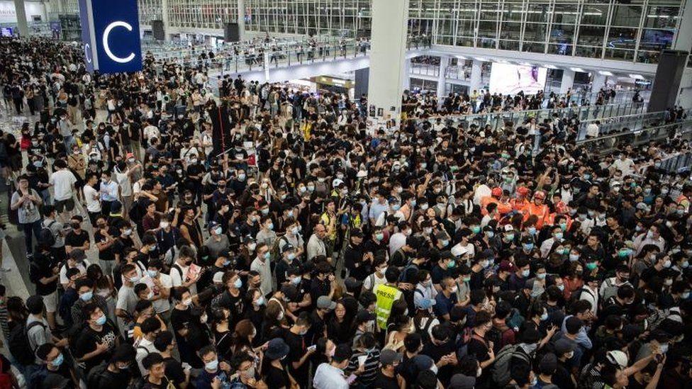 Anti-government protestors at Hong Kong's airport