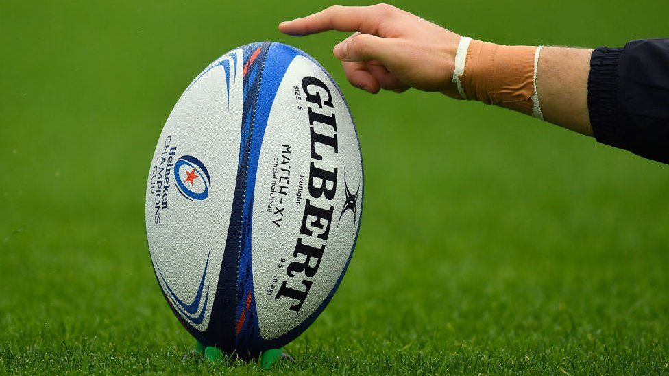 A general view of a match ball during the Heineken Champions Cup
