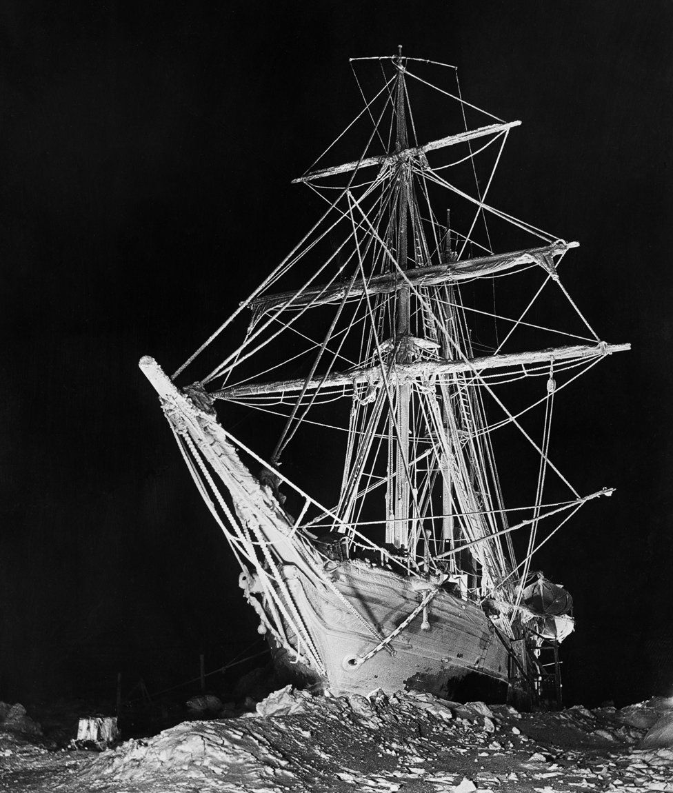 Ship on the sea at night